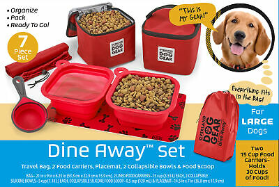Mobile Dog Gear Dine Away Dog Travel Bag for Medium and Large Dogs Red