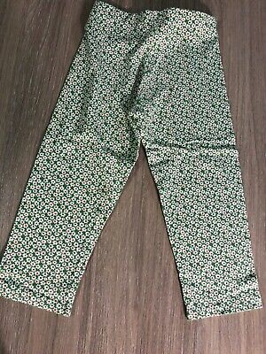 NEXT Girls Age 4-5 Green Floral Print Trousers Summer Holiday Casual