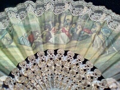 Vintage Hand Held Fan Classic Romantic Design With Box