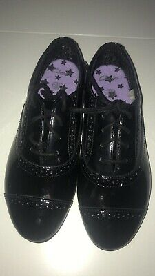 Clarks Girls Black Brogue Patent Leather School Shoes UK 7F