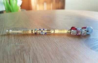 Gorgeous  Anitque Bovine Bone Lace Bobbin with Bead Decoration