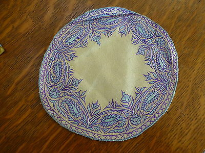 exquisite VINTAGE Hand Embroidery raw silk Doily Table drink Mat home decor
