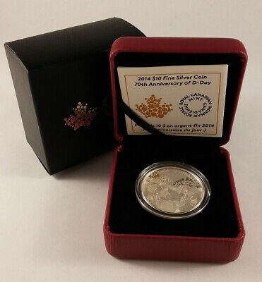 2014 Canada $10 70th ANNIVERSARY of D-DAY Proof Fine Silver Coin