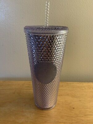Starbucks 2019 Bling Platinum Studded Cold Cup Tumbler Silver New Winter Holiday