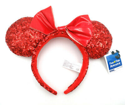 Disney Park Mickey Minnie Mouse Ears Festival Gift Red Bow Sequins Cos Headband