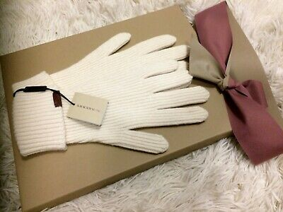 BNIB Burberry Natural White Ladies Wool Gloves In Gift box Christmas Gift