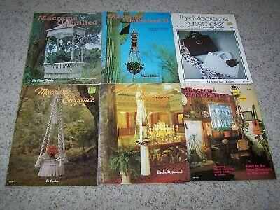 6 Vintage MACRAME Craft BOOKLETS Unlimited-Elegance-Purses-Masterpieces PATTERNS