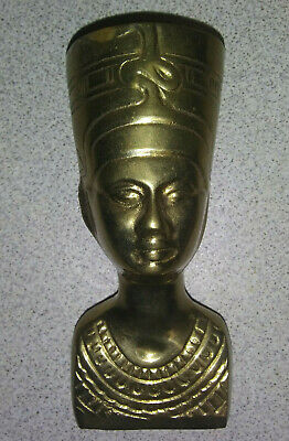 "Egyptian Queen Nefertiti Brass Bust Figurine Statue Sculpture 5-1/2"" Tall"