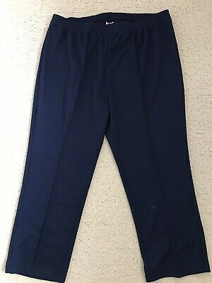 New Womens Navy Smart Pull On Elasticated Waist Trousers From Damart Size 24