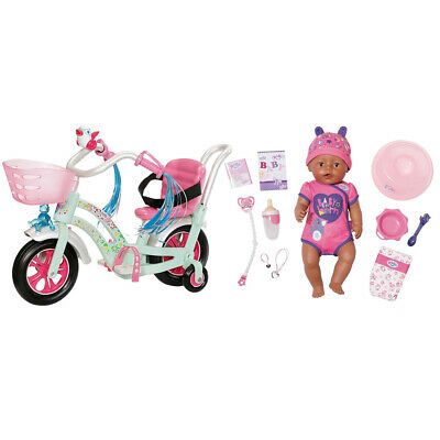 Baby Born 43cm Soft Touch Girl Pink Doll & Play & Fun Bike/Cycle Accessory 3y+