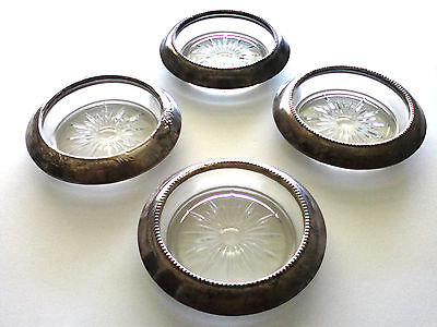 Vintage Sterling Silver Cut Glass Coasters Frank M Whiting & Co Lot Of 4