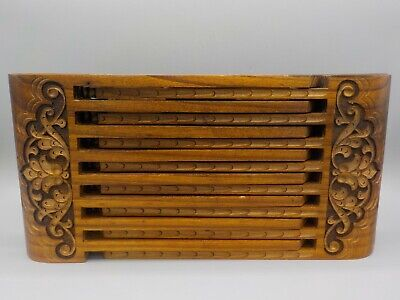 Vintage Hand Carved Chinese Luban Folding Stool Intricate & Complicated 1Pc Wood