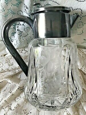 vintage pitcher decanter silverplate & etched glass & cylinder insert germany