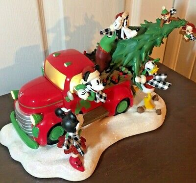 Disney Parks Mickey Mouse Christmas Red Truck Figurine New 2019 Lights Up