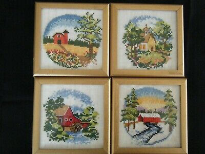 4  X-Stitch Completed 4 Seasons Framed