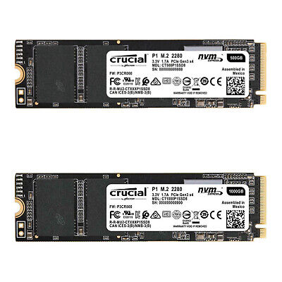 Crucial P1 M.2 NVMe 500GB 1TB PCIe Internal Solid State Drive SSD up to 2000MB/s