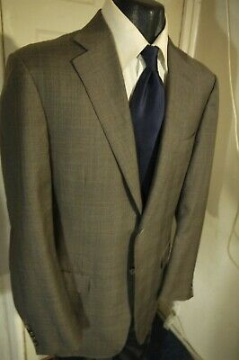 Canali Size 42L Gray Plaid 2 Button Wool Sportcoat W/Dual Vents