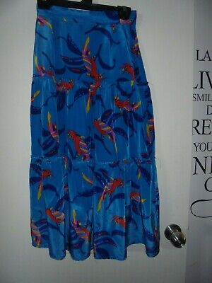 Vintage80's skirt with layered ruffles, bright blue with parrots - Size 4-6