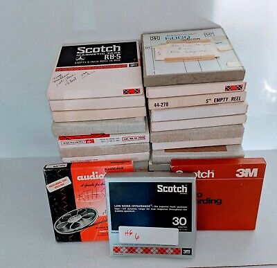 33 Vintage 5 inch Reel To Reel Audio Tapes with Boxes Pre-recorded Scotch & More