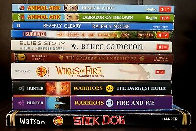 Lot 10 Childrens Chapter Books 3rd Grade BOYS Warriors Wings of Fire I Survived