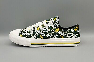 GREEN BAY PACKERS NFL Women's  Canvas Low Top Sneakers FOCO Size 6 New