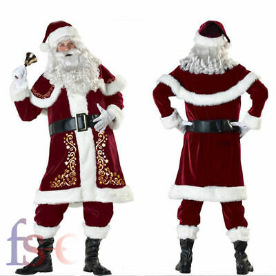 Mens Christmas Deluxe Santa Costume Fancy Dress Father Regal Plush Outfit