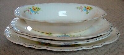 1938 Homer Laughlin Virginia Rose  4 SERVING Pieces 3 Platters  one OVAL Bowl