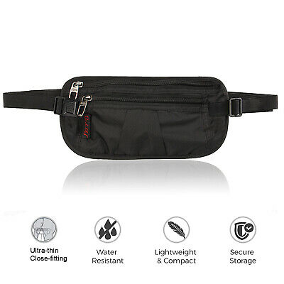 Unisex Travel Money Belt Large Security Pockets and Zipper Safe Hidden Waist Bag