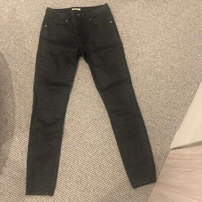 Burberry Brit coated black cotton leather look jeans US27 = AUS 8