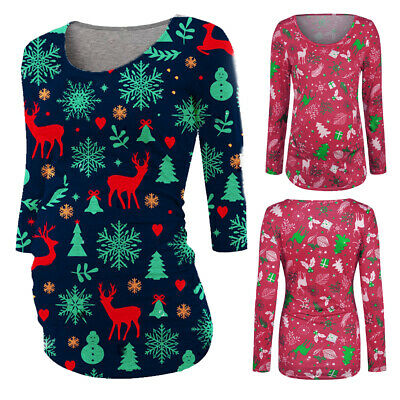 AU Womens Maternity Xmas Christmas T-Shirts Casual Pregnancy Tee Top Clothes