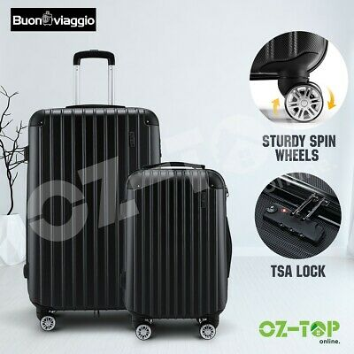 2PCS Luggage Set Suitcase Trolley Case Travel Storage Organiser TSA Lock Black