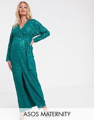 ASOS Design Maternity scatter sequin maxi dress with batwing sleeve size 16