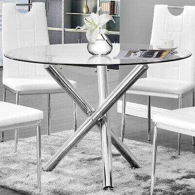 Large 90cm Clear Round Tempered Glass Kitchen Table and 2/4 Dining Chairs Set UK
