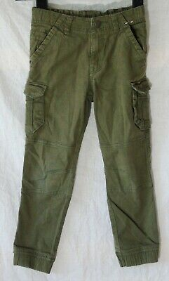 Boys TU Khaki Green Brown Denim Adjustable Waist Cuffed Cargo Jeans Age 6 Years