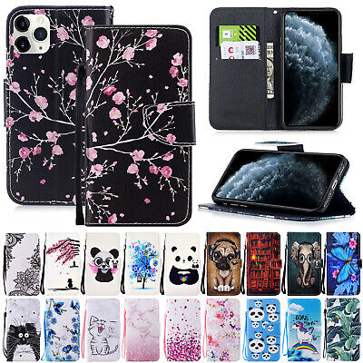 For iPhone 11 Pro Max XR 8+ 7 6s SE 5s Cover Magnetic Leather Flip Wallet Case