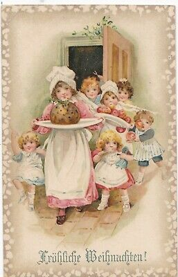 Lots of children follow girl with Christmas pudding  1901