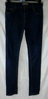 Boys Very Dark Indigo Blue Denim Stretch Super Skinny Jeans Age 15 Years