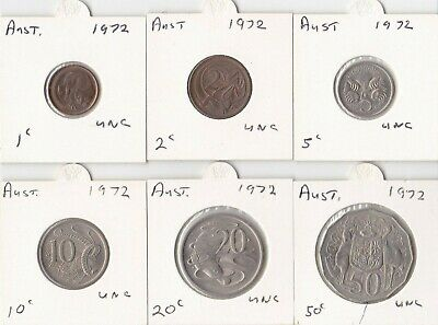 Set of UNC 1972 coins - 1c to 50c - UNCIRCULATED as shown in scans. INC 1972 5c.