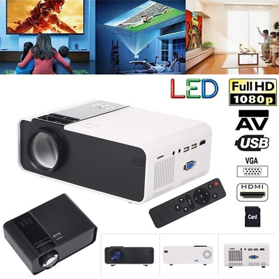 Mini Portable W10 LED Projector USB VGA TF Home Theater Multimedia 1000:1 Y2L1