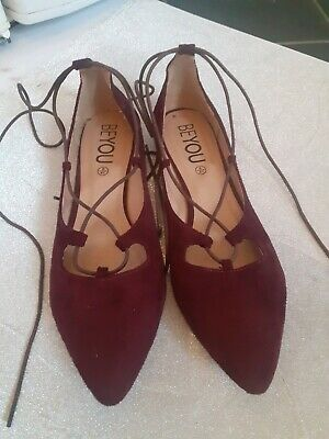 Maroon Lace Up Ballerina Pumps Size 8