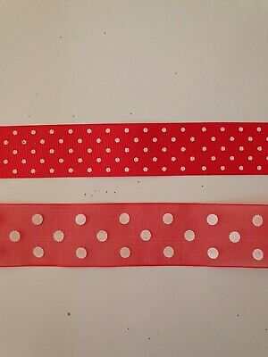 Christmas Ribbon, sold by the metre, Red Spotty Polka Dots Gift/Present Wrapping