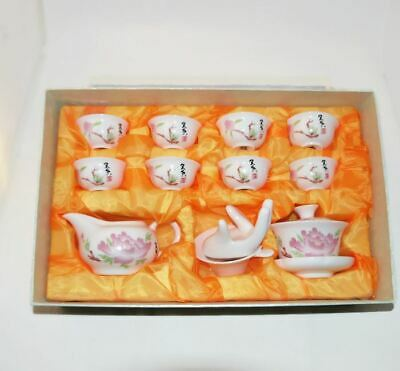 Chinese Porcelain Tea Set Oriental with 8 Cups Infuser Jug Giawan