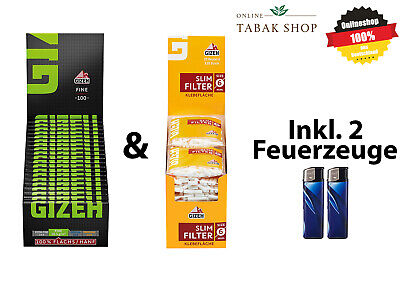 20x120er Gizeh Slim Filter & 20x100er Gizeh Fine Green Papers Zigarettenpapier
