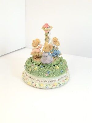 Tiny Talk Sweet Celebration Wind Up Music Box 3 Mice Maypole Musicbox Dancer