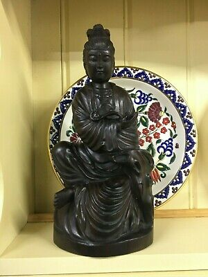 An Antique Chinese Carved Hardwood Figurine Of Guanyin