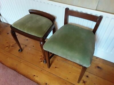 Two Antique Mahogany Dressing Table Stools/Chairs Upholstered in Green Velvet