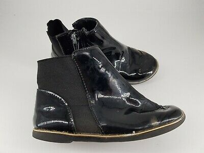River island size 9 (26.5) kids black faux patent leather side zip ankle boots