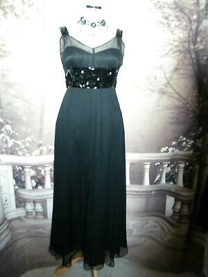 Phase Eight Long Dress/Ballgown Size 12/14 Black Sequin Evening Cruise Formal