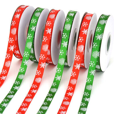 Red/Green Grosgrain Gift Wrapping Christmas Snowflake Ribbon Wedding Decoration