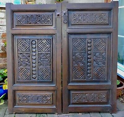 PAIR WOODEN HAND CARVED MOROCCAN SHUTTERS~PANELS~DOORS~SALVAGE~EACH 102cm x 50cm